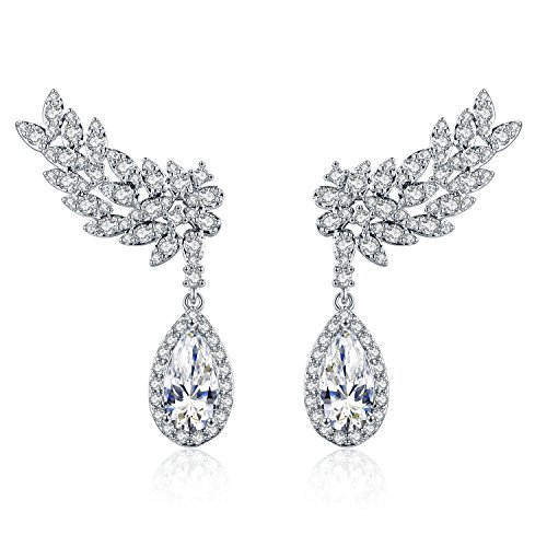 Birthstone Dangle - Chicinside Birthstone Leaves CZ Crystal Ear Cuff Climbers Dangle Earrings Silver Tone (White)