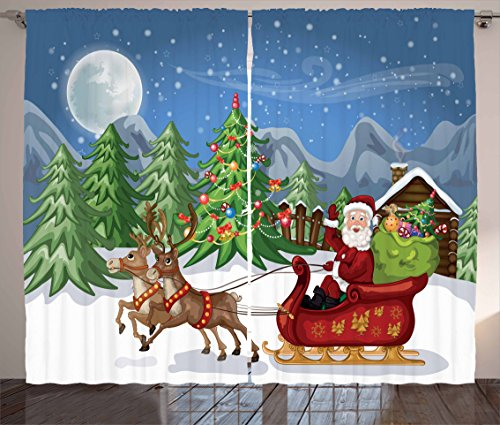 Ambesonne Christmas Curtains, Country Landscape at Night with Trees Santa Claus Snowdrift Reindeers Mountains, Living Room Bedroom Window Drapes 2 Panel Set, 108