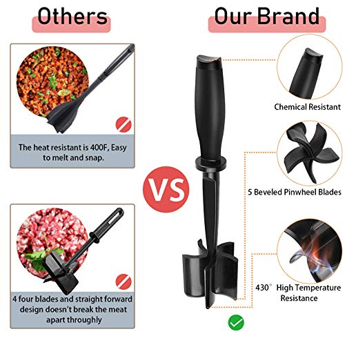 Meat Chopper, 5 Curve Blades Ground Beef Masher Multifunctional Heat Resistant, Meat Masher for Hamburger Meat, Ground Beef, Turkey and More, Nylon Hamburger Chopper Utensil Non Stick Cookware