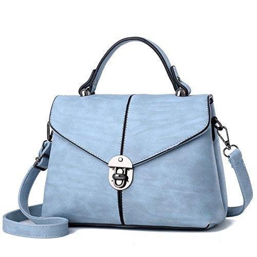 Mefly La primavera y el verano la moda retro Negro Bolso pequeño blue