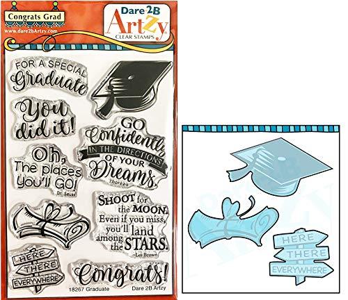 Dare 2B Artzy Congrats Grad Clear Cling Stamp Set (18267) and Graduation Cap Die (D71) Bundle 2 Items