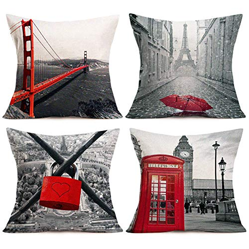 Aremetop Throw Pillow Covers Vintage Famous City Building Red Grey Black Artwork Home Decor Pillowcases Golden Gate Bridge,Eiffel Tower,Big Ben,Pont des Arts Decorative Square Cushion Cover 18''x18'' (Pillows And Grey Red)