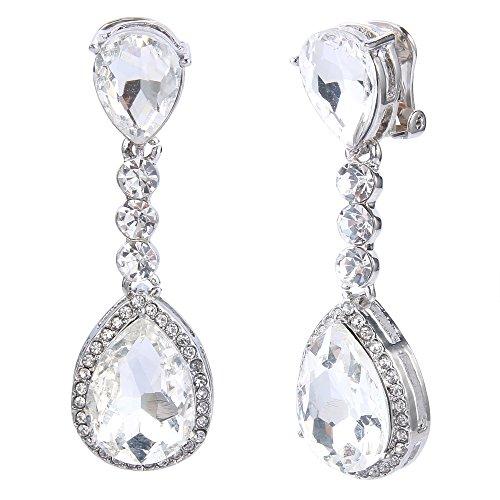 BriLove Womens Wedding Bridal Crystal Teardrop Infinity Figure 8 Chandelier Dangle Clip-On Earrings