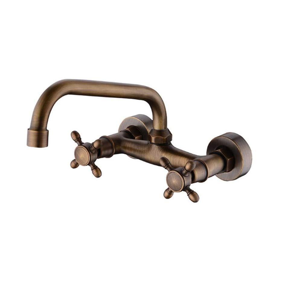 Waschtischarmaturendie Doppelwand - Warmen Und Kalten Speisen Becken Spüle Wasserhahn Vollkupferzylinder Rotierenden Anströmkante   Lift
