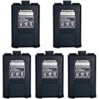 5pcs BAOFENG 7.4V 1800mAh Li-ion Battery For Baofeng Walkie Talkie DM-5R UV-5R UV-5RE BF-F8HP UV-5R V2+ Plus UV-5RTP Series Two Way Radio (5, Black)