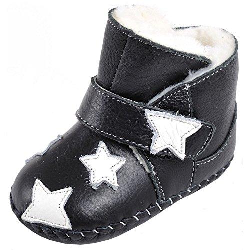 CAROCH - Zapatos de bebe primeros pasos de cuero niñas   Montantes negras forradas estrella a blanca Negro