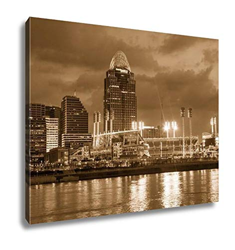 Ashley Canvas Great American Ball Park Stadium, Wall Art Home Decor, Ready to Hang, Sepia, 16x20, AG6115024