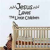 Jeyfel Decals: Vinyl Wall Decor Decal Sticker. Christian. Jesus Loves the Little Children. (22''W x 12''H)