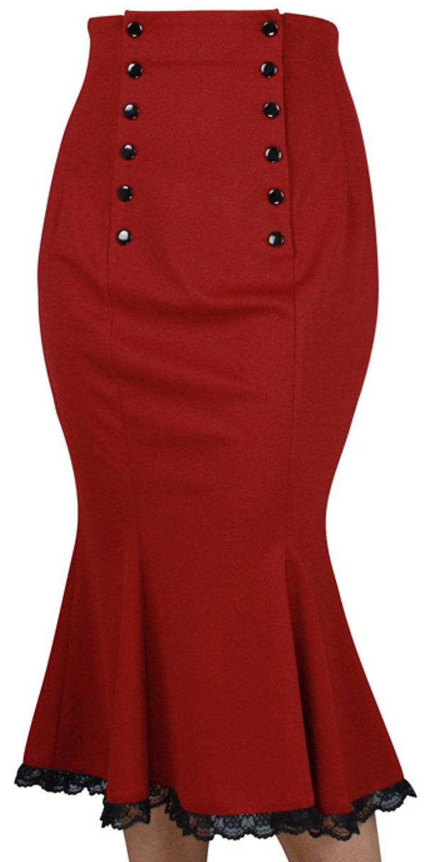 (XS-P28) Power Broker - Red 30s Retro Double Button Vintage Style Skirt (XL, Red)