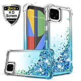 Youcover Google Pixel 4 Case with 2S Screen Protector Bling Glitter Quicksand Reinforced Concerns Liquid Full Body Shockproof Anti-Scratch Protective Phone Case for Girls Women-Teal