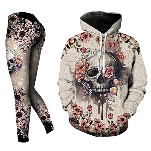 Wedday Skull Halloween Plus Size Winter Workout Sets for Women 2 Piece Tops Hoodie and Leggings