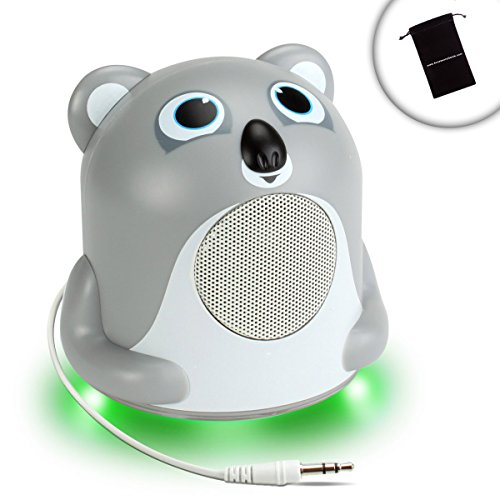 Ipod Nano Mini Portable Speakers - GOgroove Portable Koala MP3 Speaker with Glowing LED Base , Clear Bass and 3.5mm Cable - Works With Apple iPod Nano / Shuffle / Touch and More MP3 Players - Includes Bonus Accessory Bag