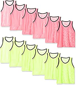 BlueDot Trading Youth Sports Pinnies Scrimmage Training Vests (12-Pack), Red