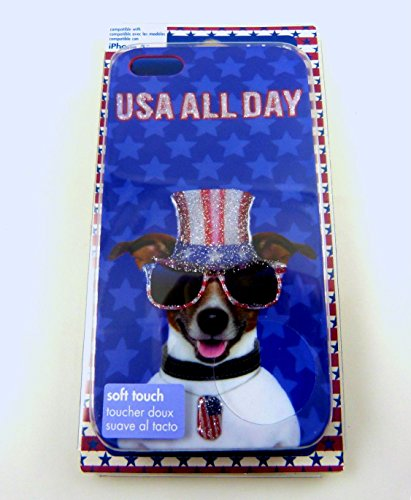USA All Day Patriotic Dog Cell Case for iPhone 5 or 5S - Perfect for July 4th, Memorial Day