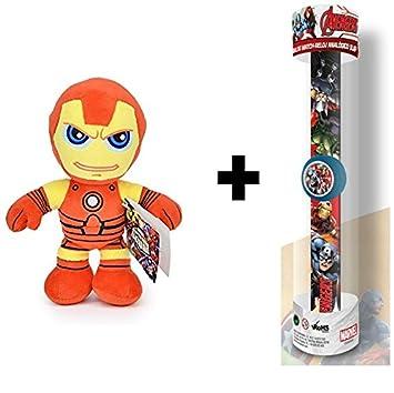 AVENGERS: Peluche de Iron Man 30 cm + Reloj infantil analógico ...