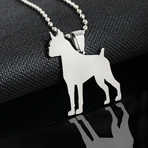Stainless Steel Cropped Ear German Boxer Dog V2 Silhouette Pet Dog Tag Breed Collar Charm Pendant Necklace