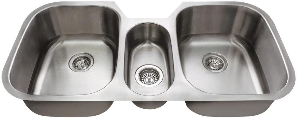 4521 Triple Bowl Stainless Steel Kitchen Sink 16 Gauge Sink Only Amazon Com