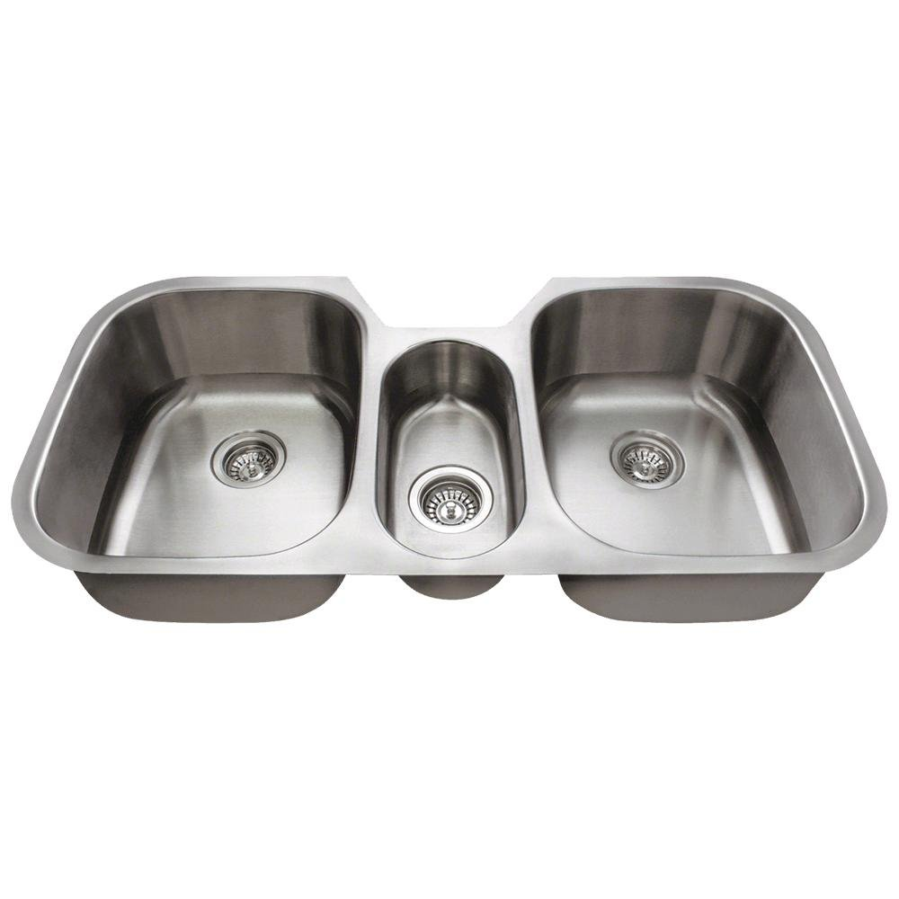 4521 Triple Bowl Stainless Steel Kitchen Sink, 16-Gauge, Sink Only by MR Direct