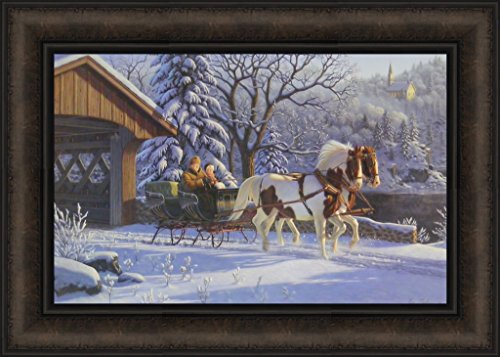 Treasured Memories by Kim Norlien 15x21 Horses Sleigh Snoe Covered Bridge Country Framed Art Print Picture
