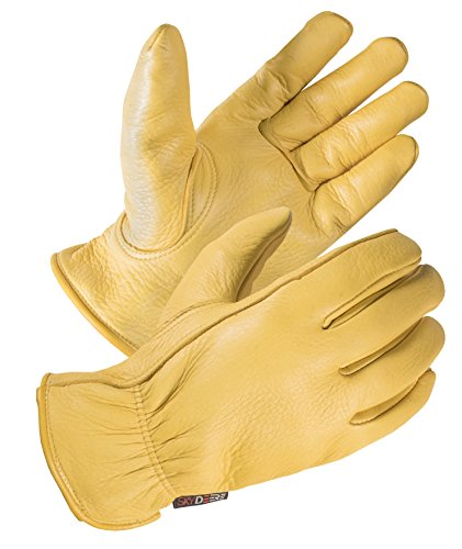 SKYDEERE Deerskin Leather Hi-Performance Utility Driver Work Glove (Medium Fit for Men and Women)