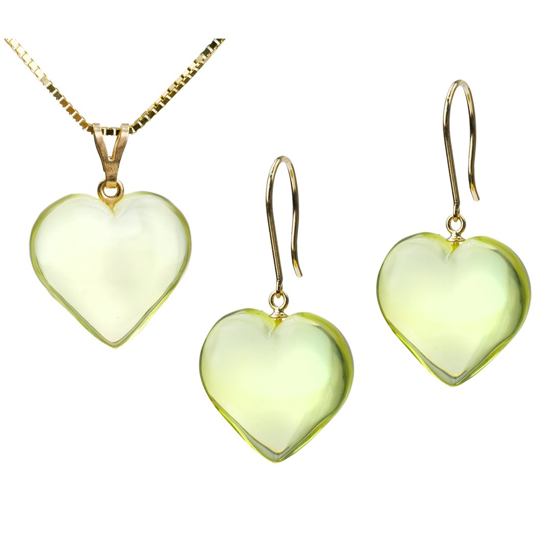 Green Amber 14K Gold Heart Pendant Earrings Set 0.8mm Box Gold Chain 18 Inches
