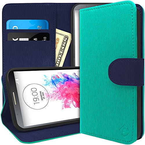 LG G3 Case, Caseology [Leather Wallet Series] Inner Credit Card Pocket Horizontal Stand for LG G3 - Turquoise Mint