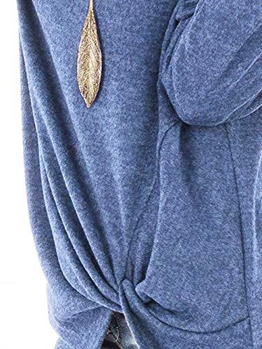 girocollo donna Top tinta da tondo T Blu con lunga shirt manica unita scollo a Rojeam B5qwHw