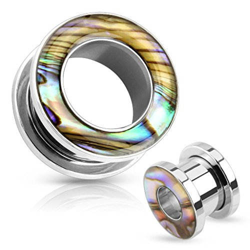 PAIR Abalone Inlay Steel Screw Fit Tunnels Earlets Gauges Plugs Pierced Body Jewelry (4g (5mm))