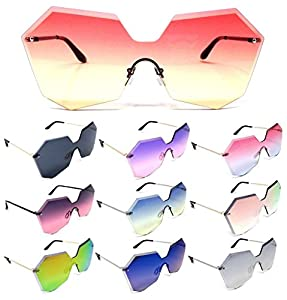 Oversized Womens Laser Cut Rimless One Piece Shield Sunglasses