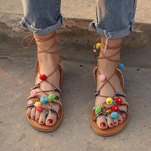 Upxiang Frauen Bohemia Sandalen Ethnischen Stil Flache Sandalen Gladiator Leder Sandalen Wohnungen Schuhe Pom-Pom Flip-Flops Schuhe