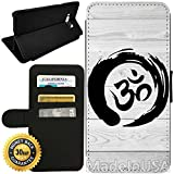Flip Wallet Case for Galaxy S8 Plus (Zen Om on Wood) with Adjustable Stand and 3 Card Holders | Shock Protection | Lightweight | by Innosub