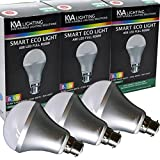 KVA LIGHTING Smart Light LED Bulb, B22 A80, 8.55W to 60W, Bright 800 Lumens, Dimmable, RGBW, Requires Gateway, Pack of 3
