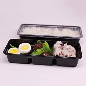 Fiambrera desechable YC Plato de Comida de plástico desechable para el Almuerzo: se Puede reutilizar con compartimientos para la Tapa Contenedores para la preparación de Comidas [150 Pack]: Amazon.es: Hogar