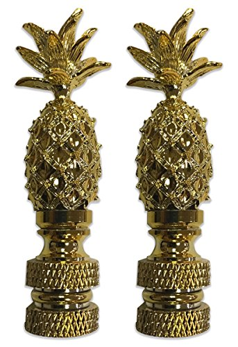 Royal Designs Vintage Pineapple Lamp Finial for Lamp Shade- Polished Brass Set of 2