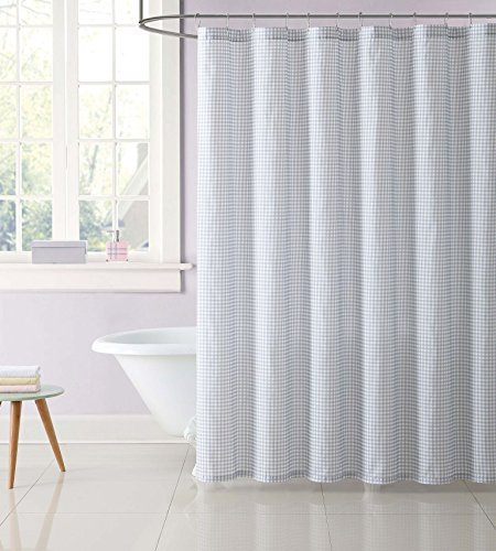 Gingham Shower Curtains - Laura Hart Kids SC2328GY-6200 Shower Curtain, Gingham Gray