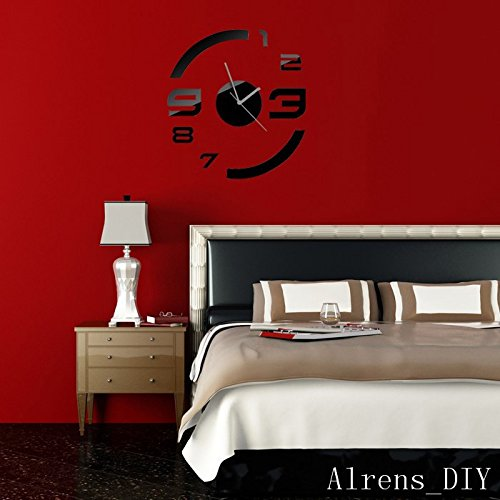 Alrens_DIY(TM)Black Rounds With Butterflies Art Mordern Luxury Design Acrylic Non-ticking Quartz Clock Watch DIY Removable 3D Crystal Mirror Wall Clock Wall Sticker Home Decor Art Living Room Bedroom Decoration by Alrens (Image #3)