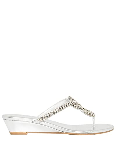 Women's Metallic Leather-Like Wedge Sandal
