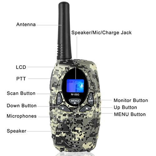 2 Way Radios Camping Accessories, Topsung M880 FRS Walkie Talkie for Adults Long Range with Mic LCD Screen / Portable Wakie-Talkie with 22 Channel for Children Hiking Hunting Fishing (Camo 2 Pack) by Topsung (Image #2)