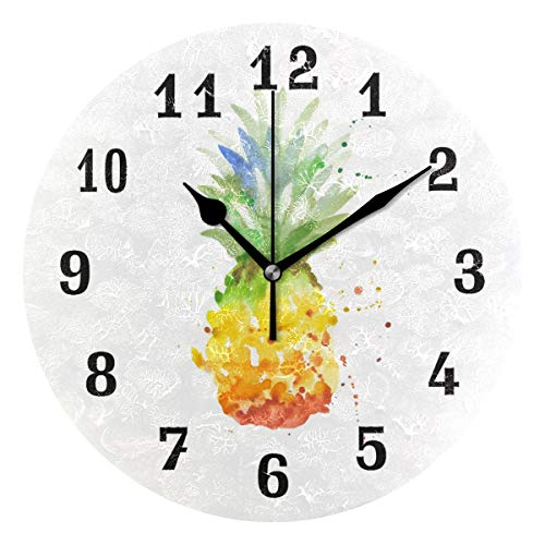 (AUUXVA SEULIFE Wall Clock Abstract Watercolor Pineapple, Silent Non Ticking Clock for Kitchen Living Room Bedroom Home Artwork Gift)