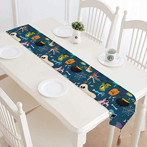 Halloween Bats Ghost Pumpkin Black Cats Washable Country Fringed Cotton Tablecloth Suitable for Party Decoration -