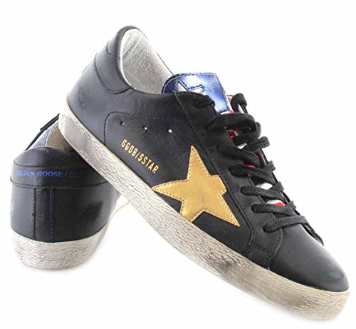 GOLDEN GOOSE Zapatos Hombres Sneakers Superstar Black Leather Special Flag Piel