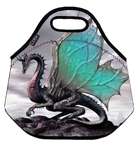 Cool Dragon (ICOLOR Cool Dragon Insulated Neoprene Lunch Bag Tote Handbag lunchbox Food Container Gourmet Tote Cooler warm Pouch For School work Office)