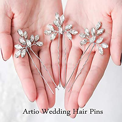Artio Wedding Hair Pins Accessories with Rhinestones for Women and Girls 3PCS