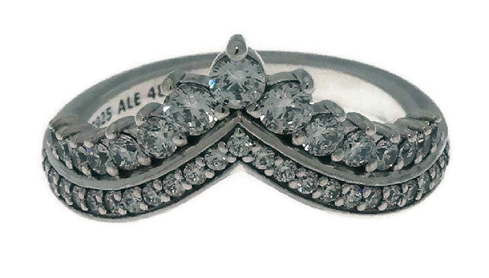 c8bf1fcee Amazon.com: PANDORA Princess Wish Sterling Silver Ring, Size: EUR-56,  US-7.5 - 197736CZ-56: Jewelry