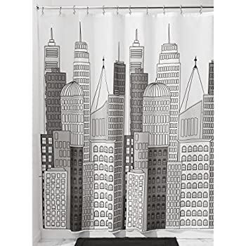 mDesign Cityscape Fabric Shower Curtain - 72