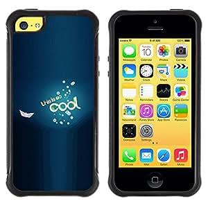 All-Round híbrido Heavy Duty de goma duro caso cubierta protectora Accesorio Generación-II BY RAYDREAMMM - Apple iPhone 5C - Cool Be Boat Sea Blue Bubbles Text