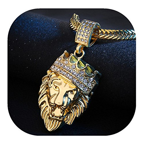 Hip Hop Fashion Jewelry - Molyveva Jewelry Men Hip Hop Chain Necklace Gold Silver Plated Lion King Pendant Necklace Fashion Jewelry (Gold)