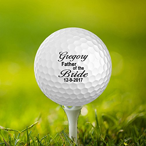 Bride Golf (Father of the Groom,Date,name Customized Golf Balls, Personalize Wedding Favors,Set of 3,Printed,Save The Date (Bride))