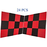 "24 Pack Charcoal Acoustic Foam Panels 1"" X 12"" X 12"" Soundproofing Studio Foam Wedge Tiles Fireproof (24 PCS, Black&Red)"
