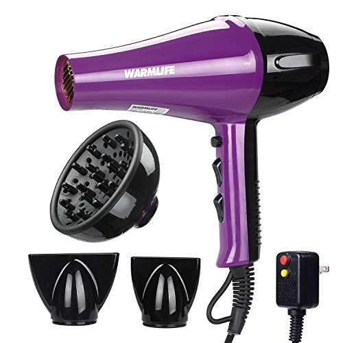 Warmlife 1875W Professional AC Motor Hair Dryer, Negative Ions Ceramic Ionic Blow Dryer with 2 Speed and 3 Heat Settings Cold Shot Button, with Concentrator & Diffuser Low Noise (8638) For Sale